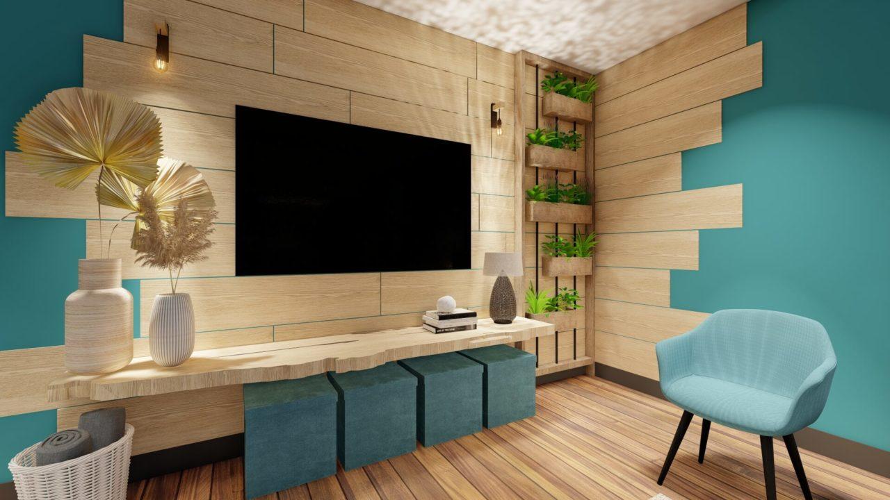 bois brut meuble tv mur végétal