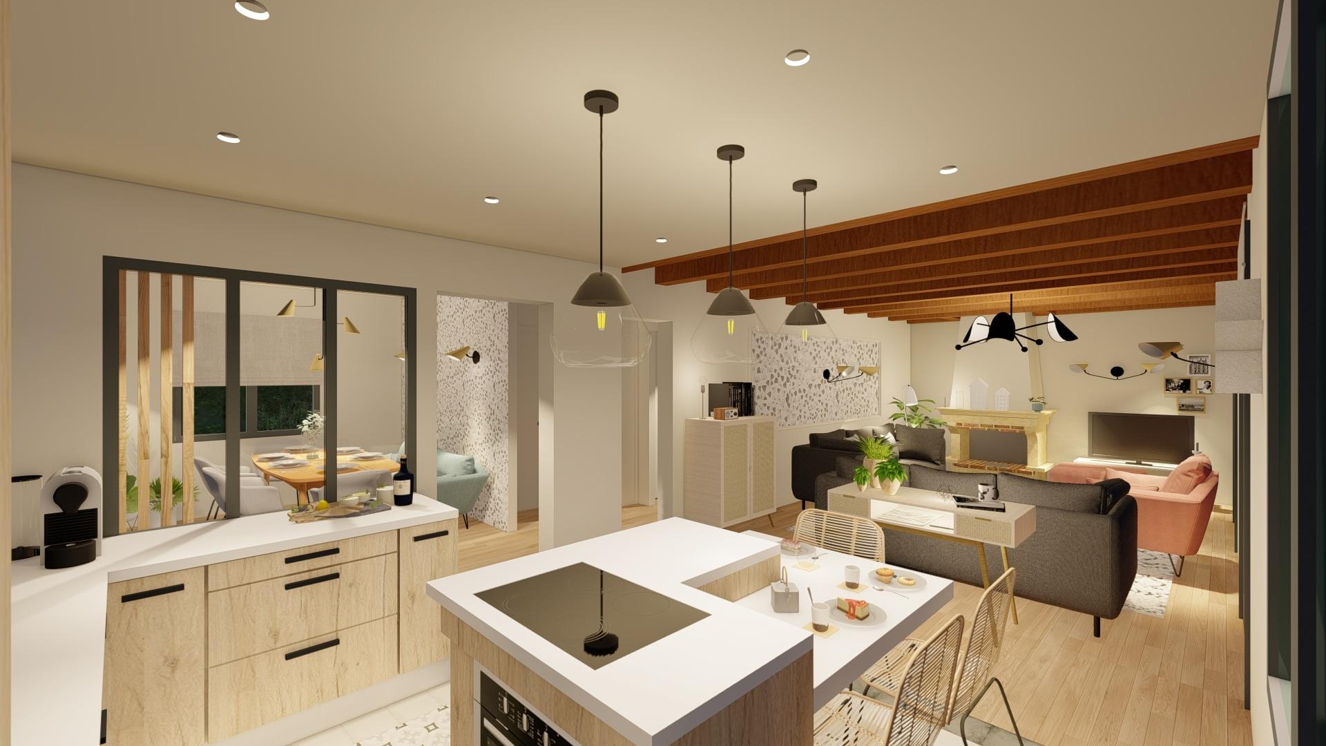 Architecture d'intérieur - cuisine et salon scandinave