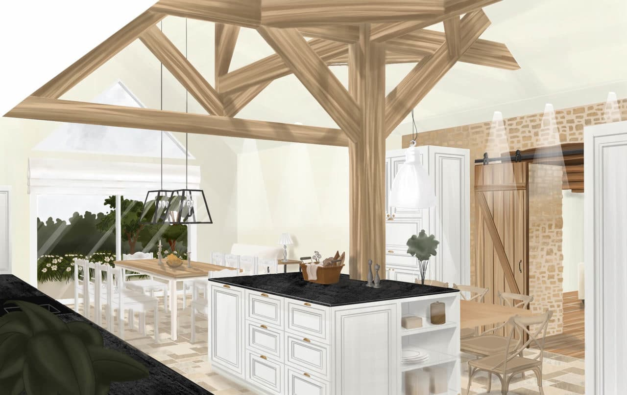 Architecture d'intérieur - Dessin à main levée charpente apparente cuisine et salle à manger