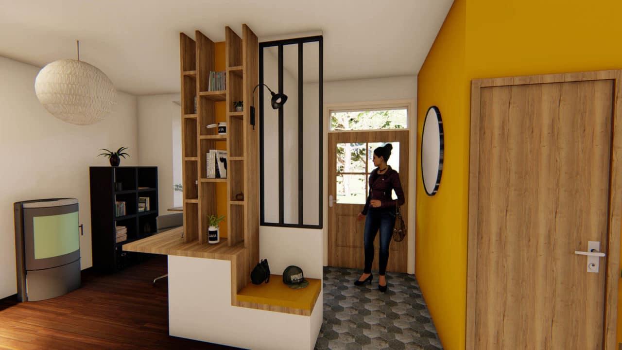 Architecture d'intérieur - Meuble d'entrée sur-mesure avec banquette et bureau