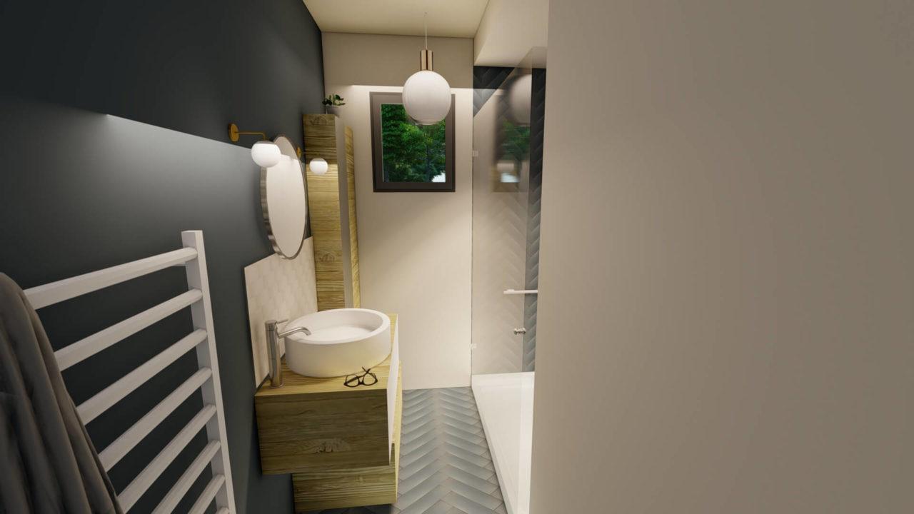 Architecture d'intérieur - Salle de bains contemporaine bleu marine