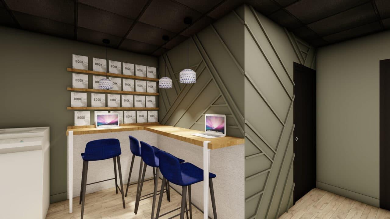 Architecture d'intérieur - comptoir accueil - tasseau - décoration