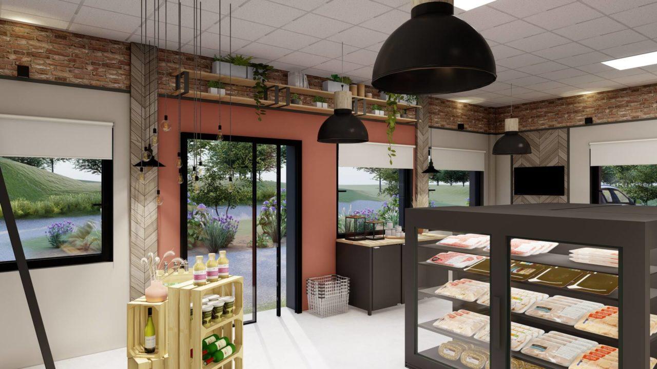 Architecture d'intérieur - boucherie - épicerie fine - brique