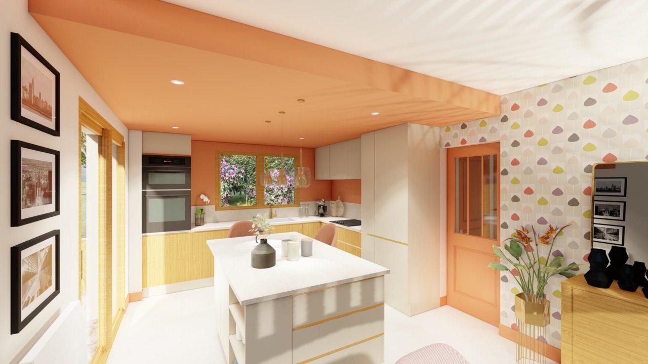 Architecture d'intérieur - Cuisine - faux plafond coloré