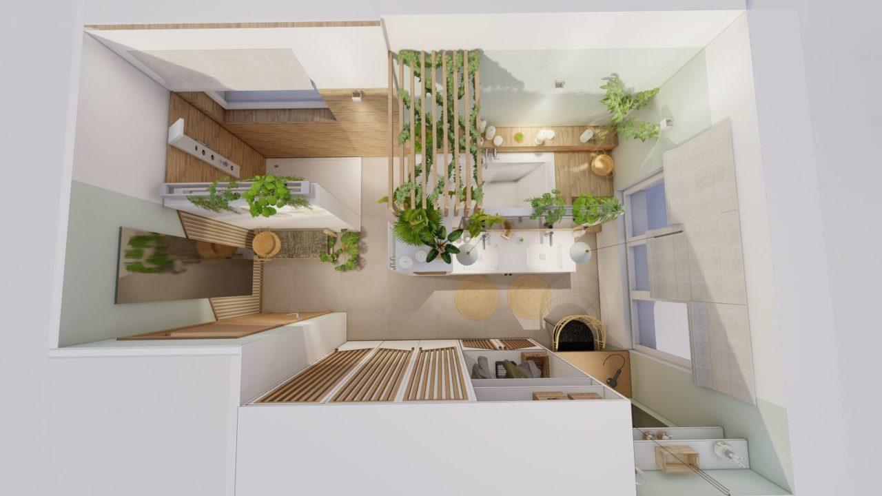 Architecture d'intérieur - Salle de bains Bohème - plan 3D