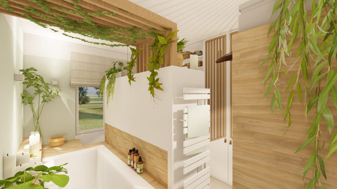 Architecture d'intérieur - Salle de bains Bohème - vue baignoire