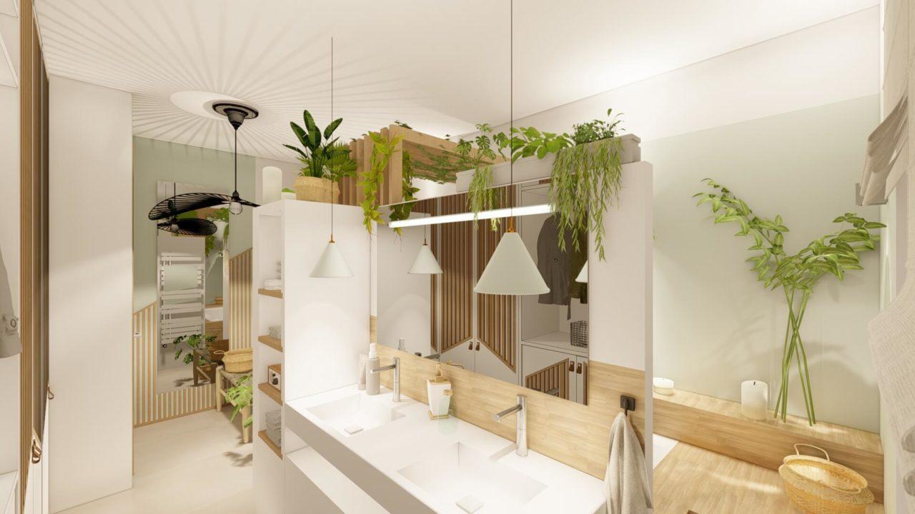 Architecture d'intérieur - Salle de bains Bohème - vue plan vasque