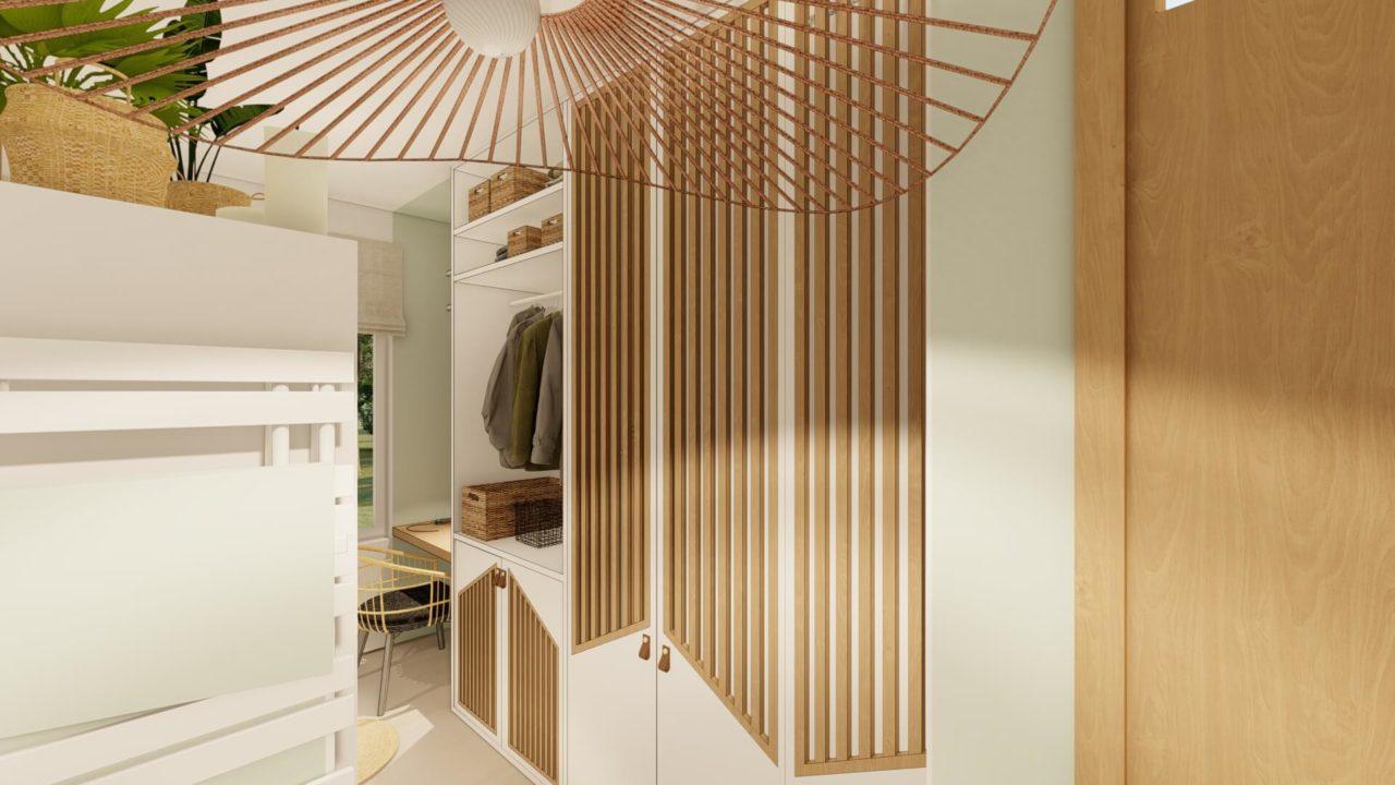 Architecture d'intérieur - Salle de bains Bohème - vue rangement