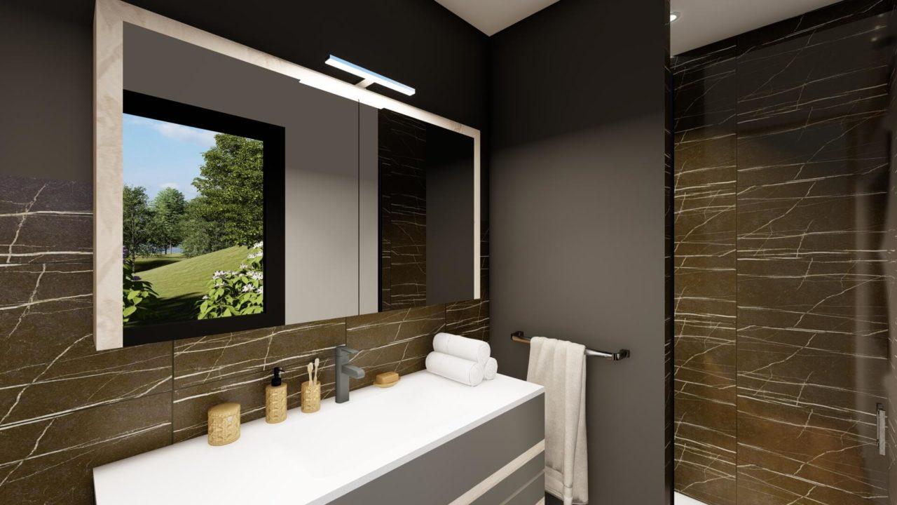 Salle de bains marbre noir