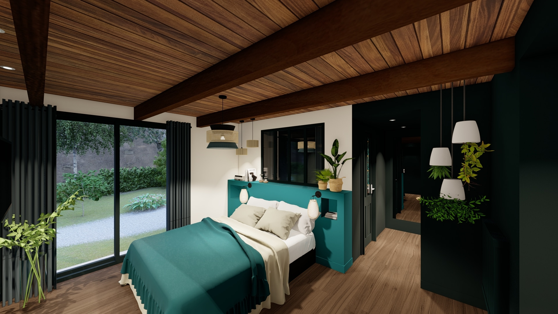 Chambre style chalet exotique