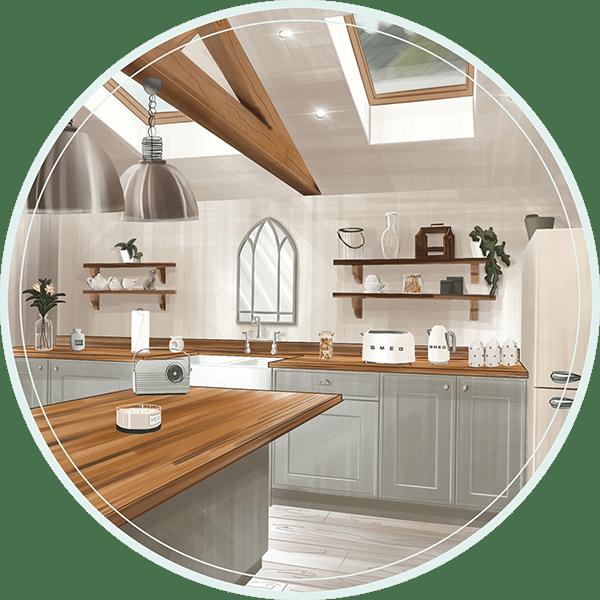 Architecture d'intérieur - Dessin à main levée d'une cuisine