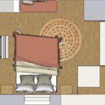 Plan chambre bohème avec banquette