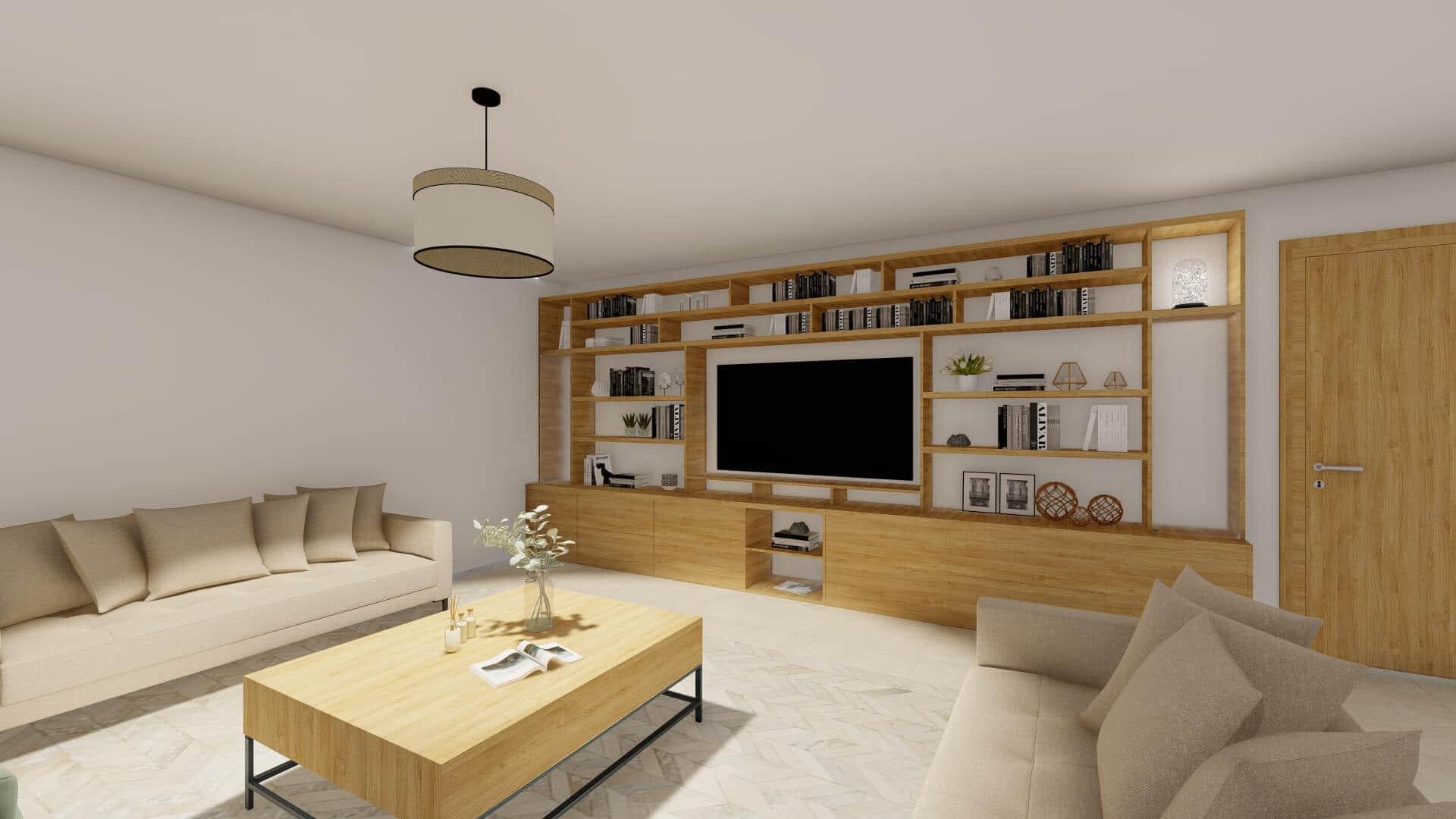 bibliothèque meuble TV sur mesure